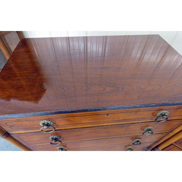 1950s Pair of Kittinger Georgian Style Rosewood Commodes For Sale - Image 5 of 11