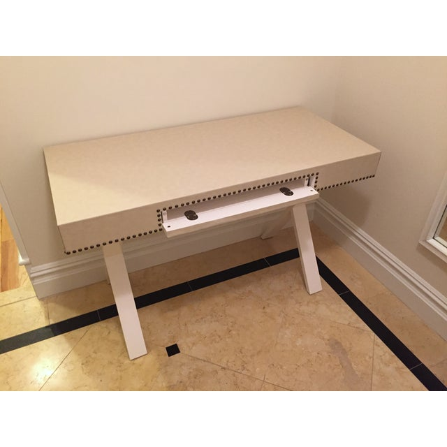 Custom Ivory Leather Desk with Nailhead Trim - Image 5 of 9
