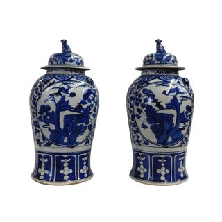 Chinese Pair Blue & White Flower Birds Porcelain Temple General Jars For Sale