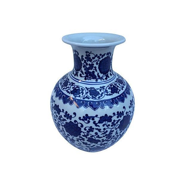 Blue & White Asian Floral Vase - Image 4 of 4
