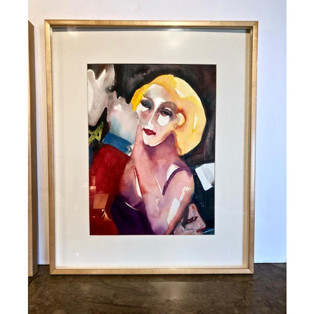 Late 20th Century Cabaret Scene Framed Watercolor Paintings by Sandra Jones Campbell - Set of 2 For Sale - Image 5 of 8
