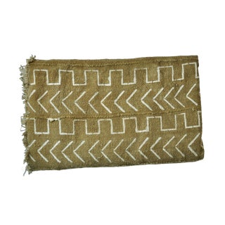 Contemporary African Cotton Mudcloth Throw in Olive For Sale