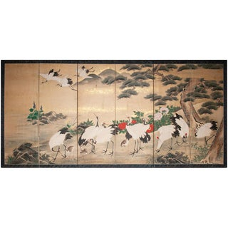 19th Century Antique Edo Era Monumental Japanese Six-Panel Byoby Screen For Sale