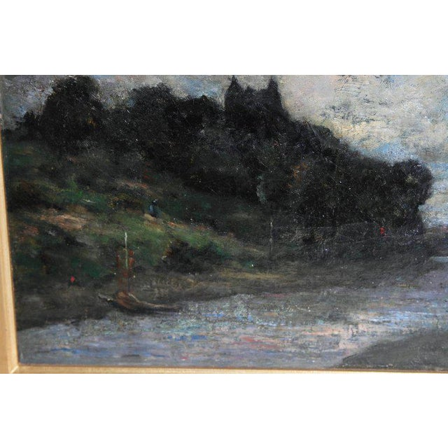 Gray 19th Century English Oil Canvas Atmospheric Landscape For Sale - Image 8 of 13