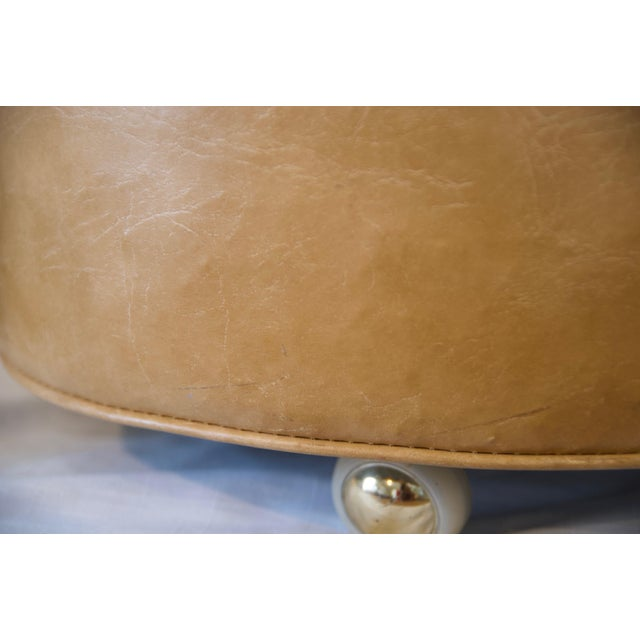 Tan 1970s Leather Moroccan-Style Pouf Ottoman For Sale - Image 8 of 13