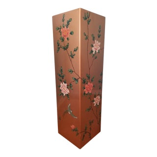 Vintage Gold Tone Hand Painted Lacquered Display Pedestal For Sale