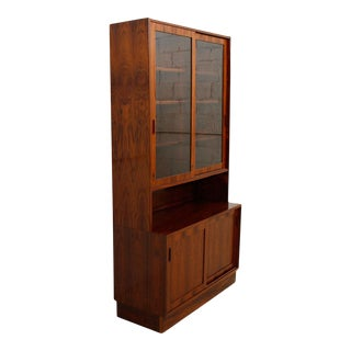 Condo Sized (42.5″) Danish Rosewood Display Cabinet / Bookcase For Sale