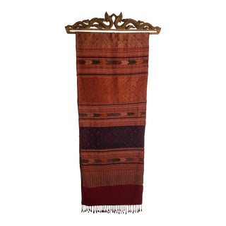 Thai Carved Cloth Hanger With Woven Cloth From Chiang-Mai For Sale
