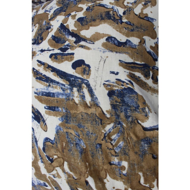 Textile Contemporary Printed Linen Navy Blue and Bronze Down Pillows - a Pair For Sale - Image 7 of 12