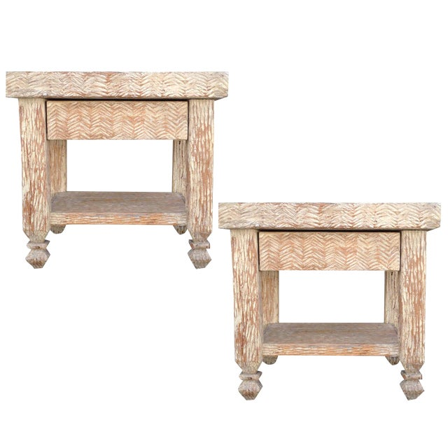 Carved & Bleached Wood Side Tables - A Pair For Sale