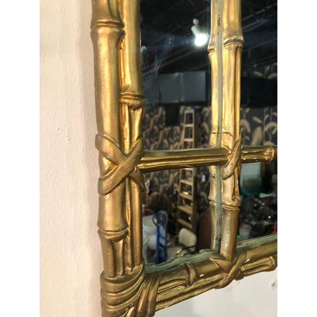 Vintage Faux Bamboo Gold Wall Mirror For Sale In West Palm - Image 6 of 10