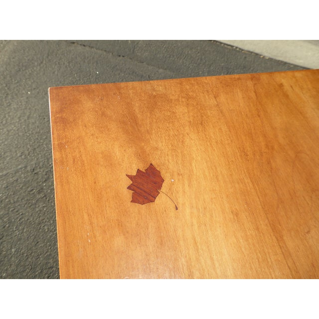 Queen Anne 1970s Queen Anne Birch Wood Cedar Lined Two Drawer Writing Desk With Leaf Inlay For Sale - Image 3 of 13