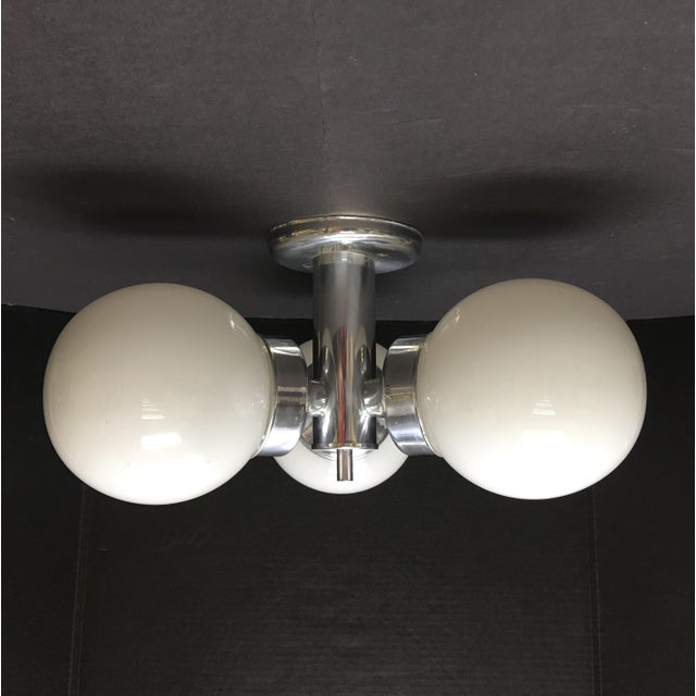 1960s 1960s Mid Century Modern Three Globe Chrome Ceiling Light For Sale - Image 5 of 5