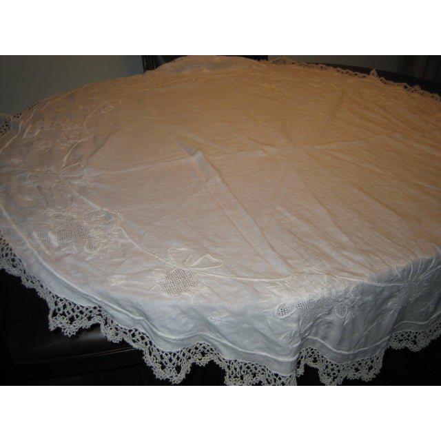 Vintage Embroidered and Crochet Round Tablecloth - Image 3 of 10