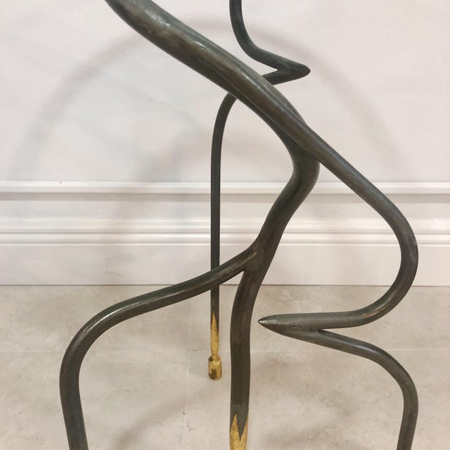 1990s Studio Steel and Gold Leaf Post Modern Sculptural Twist End Tables - a Pair For Sale - Image 5 of 9