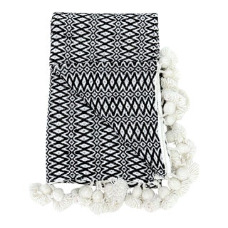 Boho Chic Woven Black and White Pom Blanket For Sale