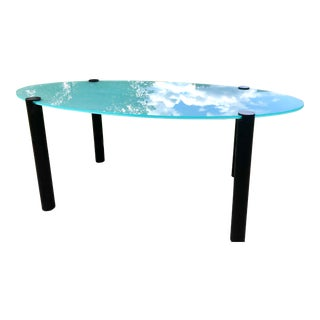 Vintage Contemporary Philippe Starck Oval Frosted Glass Dining Table For Sale