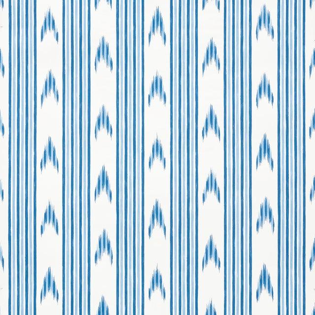 Boho Chic Schumacher X Mark D. Sikes Santa Barbara Ikat Wallpaper in Indigo For Sale - Image 3 of 3