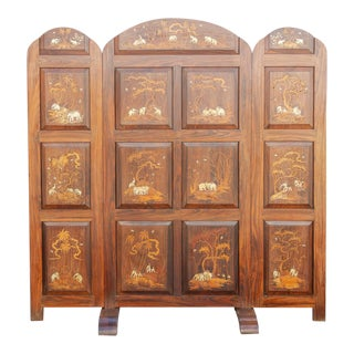 Early 20th Century Rosewood Marquetry Screen For Sale