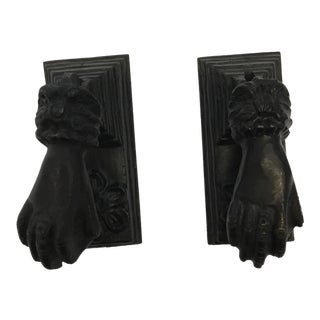 Antique French Cast Iron Door Knockers - a Pair