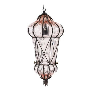 "Final Markdown Seguso Murano ""Blush"" Caged Glass Pendant Light"