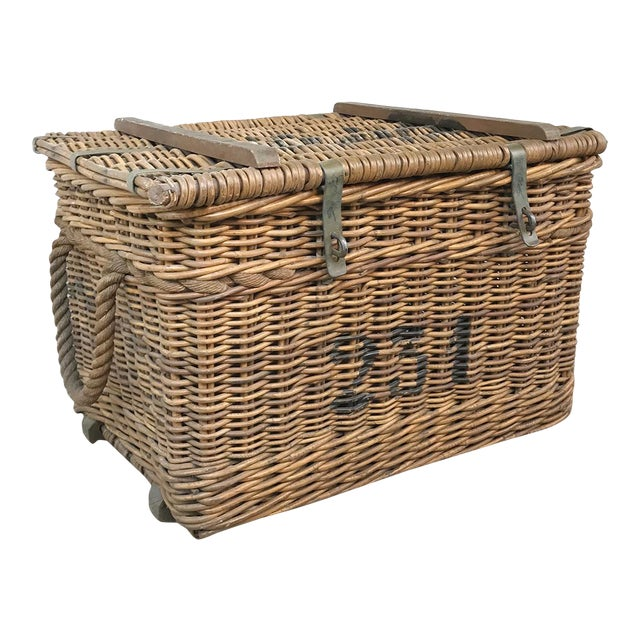 Antique Wicker Basket For Sale