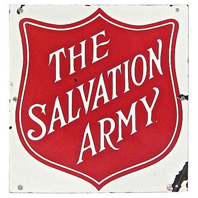 An early porcelain sign with strong color for The Salvation Army. Strong color, with some wear/chips.