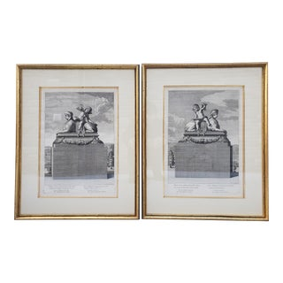 Antique French 17th Century Framed Engravings-A Pair For Sale
