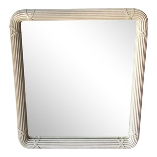 Vintage Coastal Wrapped Pencil Reed Mirror For Sale