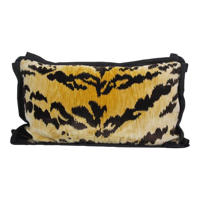 Hollywood Regency Bevilacqua Tiger Stripe Velvet Pillow For Sale