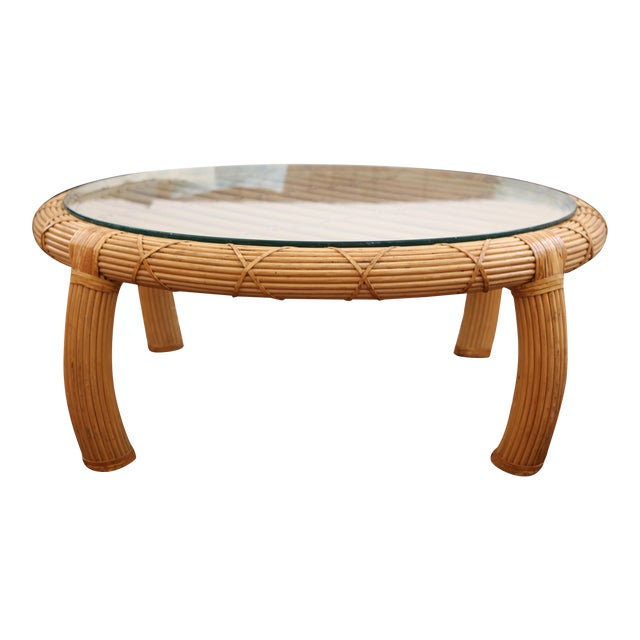 Gabriella Crespi Style Rattan & Bamboo Pencil Reed Coffee Table - Image 1 of 10