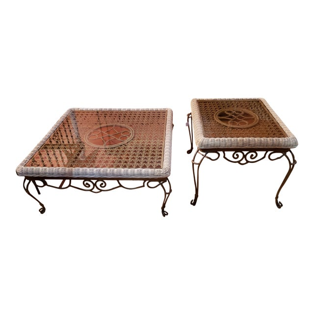 Shabby Chic Wrought Iron Table Set With Wicker Inlays and Smoked Glass Tops - a Pair For Sale