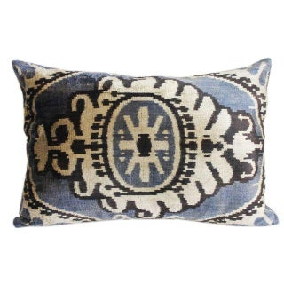 Mineral Blue and Graphite Silk Velvet Pillow Cover For Sale