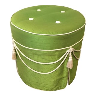 Hollywood Regency Green Silk Footstool