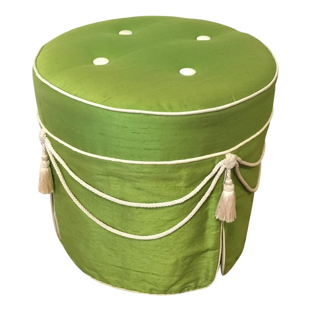 Hollywood Regency Green Silk Footstool For Sale
