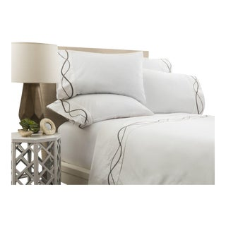Capri Embroidered Flat Sheet King - Graphite For Sale