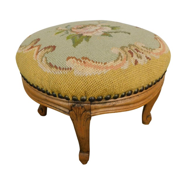 French Louis XV Style Antique Small Needlepoint Footstool For Sale