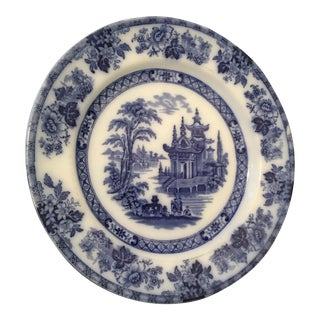 Antique Doulton Burslem Flow Blue and White Madras Pagoda Plate For Sale