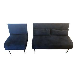 Blue Velvet Modern Banquette & Chair For Sale