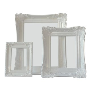 Glossy White Ornate Picture Frames - Set of 3