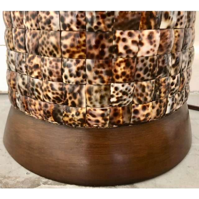 XL Mosaic Shell Table Lamp With Shade For Sale - Image 10 of 11