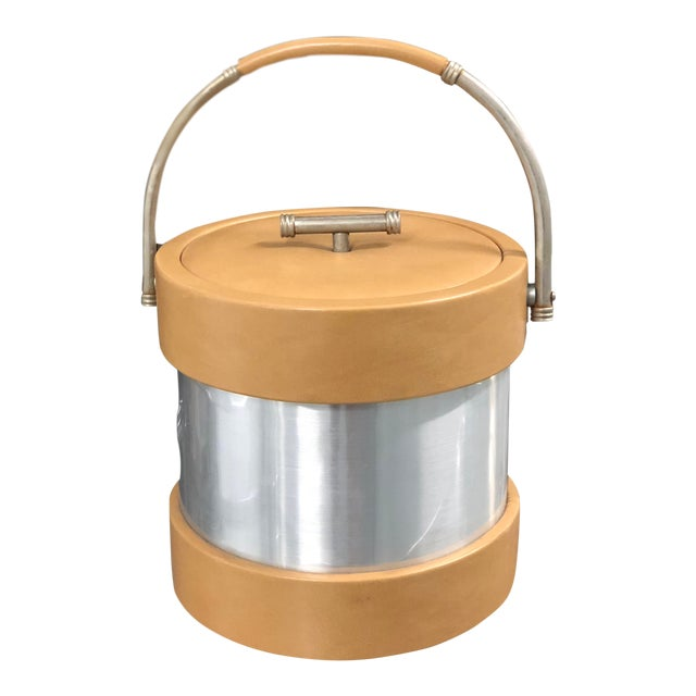 Vintage Vinyl and Chrome Ice Bucket For Sale