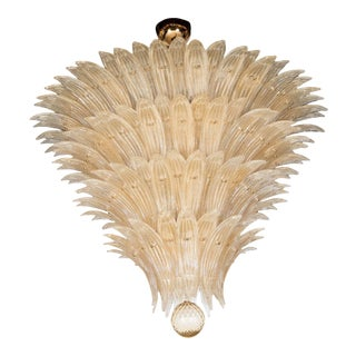 Exquisite Five-Tier Handblown Champagne Murano Glass Palma Chandelier For Sale