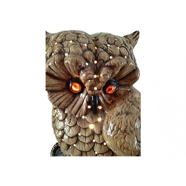 Mid-Century Ceramic Owl Lamp - Image 4 of 10