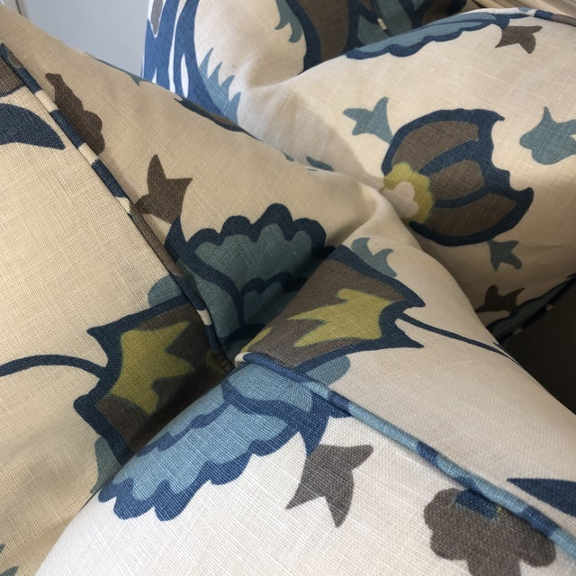 "Traditional Groundwork's ""Turkish Flower"" Teal/Aqua 22"" Pillows-A Pair For Sale - Image 3 of 8"
