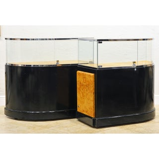 Pair of Bauhaus Style Black Lacquer, Burled Wood and Chrome Display Counters Preview