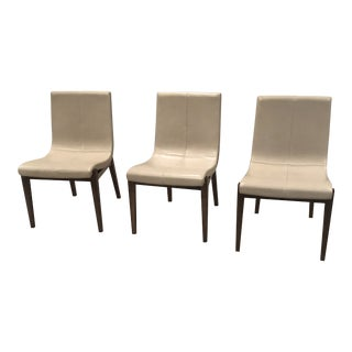 Holly Hunt Walnut Frame Slush Leather Dining Chairs - Set of 3 For Sale