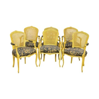 French Louis XV Style Custom Yellow Cane Back Arm Chairs - Set of 6
