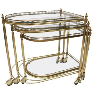 Brass Nesting Tables Italy 1950s - Set of 3 For Sale