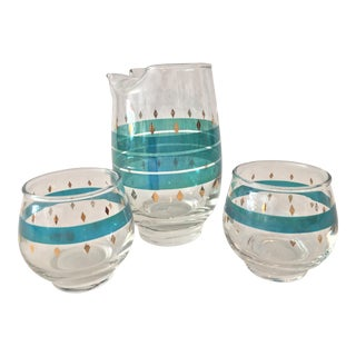 Mid-Century Modern Martini and Roly Poly Glasses - 3 Pieces